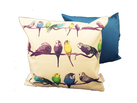 Very Very Aviary - Budgie Cushions in Blue and Green - 48cm x 48cm
