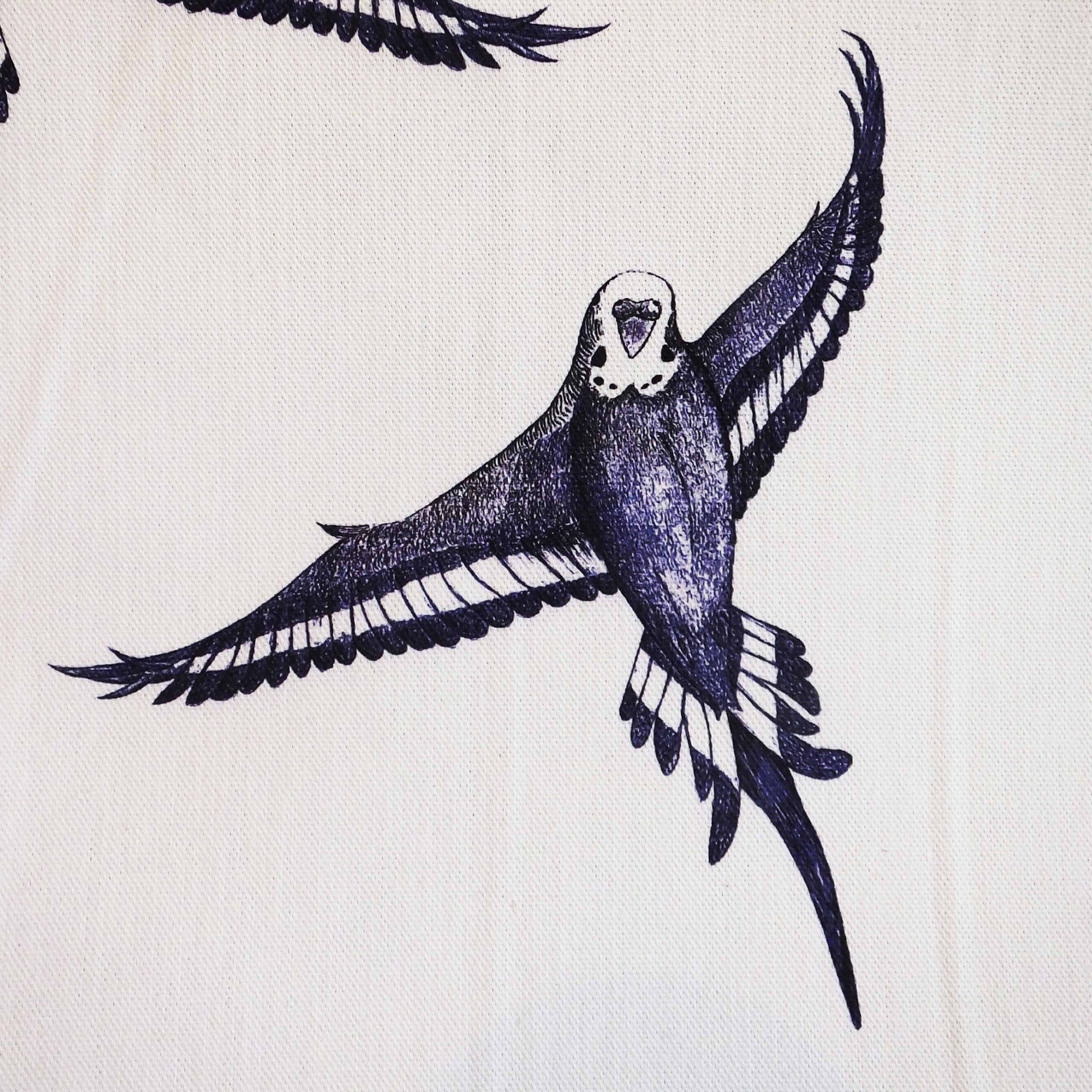 Jenny K Home - repeat pattern budgie bird fabric blue black white traditional country classic textile 3a
