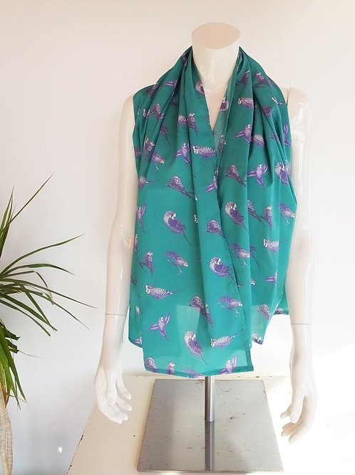Teal Aqua Cotton Parakeet Scarf