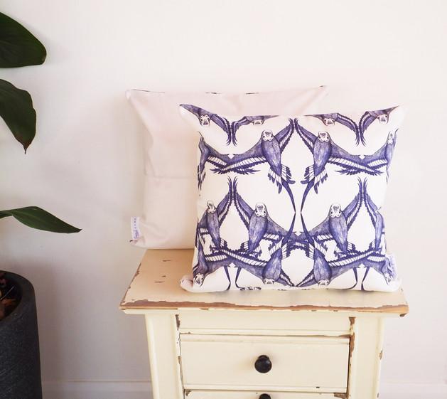 Elegant vintage look budgie cushion