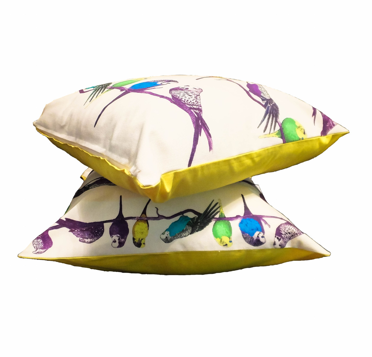 Happy Budgie Yellow Cushion Throw Pillow - Detail 2 square (1 of 1)