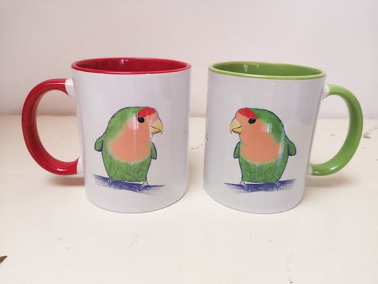 Red & Green Lovebird Mugs