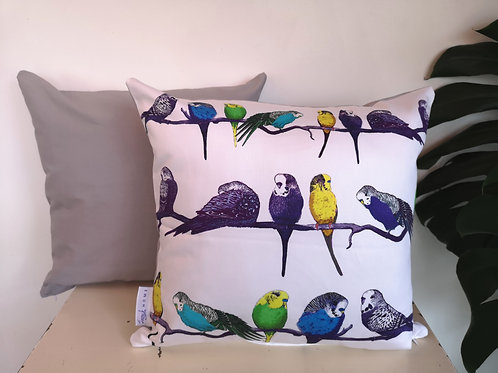 Budgies on a Perch Grey Cushion Cover Gift