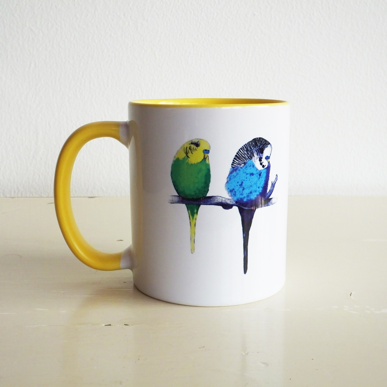Jenny K Home Bright Yellow Budgie Mug 1-min