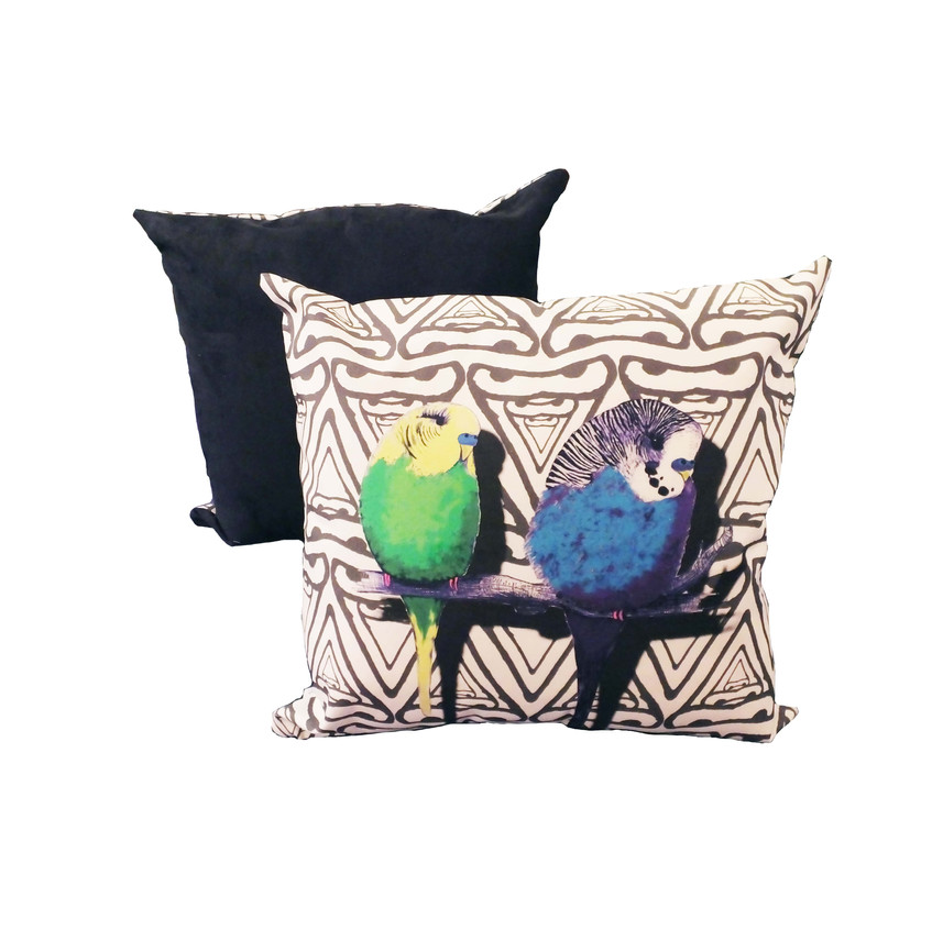 Jenny K Home colour pop budgies cushion blue green yellow black abstract background 1-min