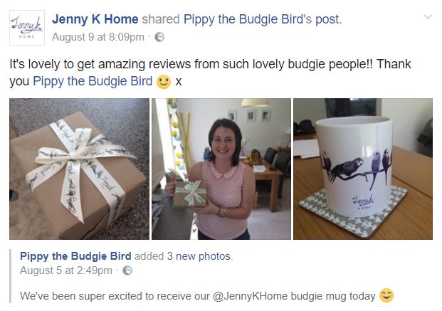 Jenny K Home budgie mug review - 5-stars - Pippy the Budgie Bird on Etsy
