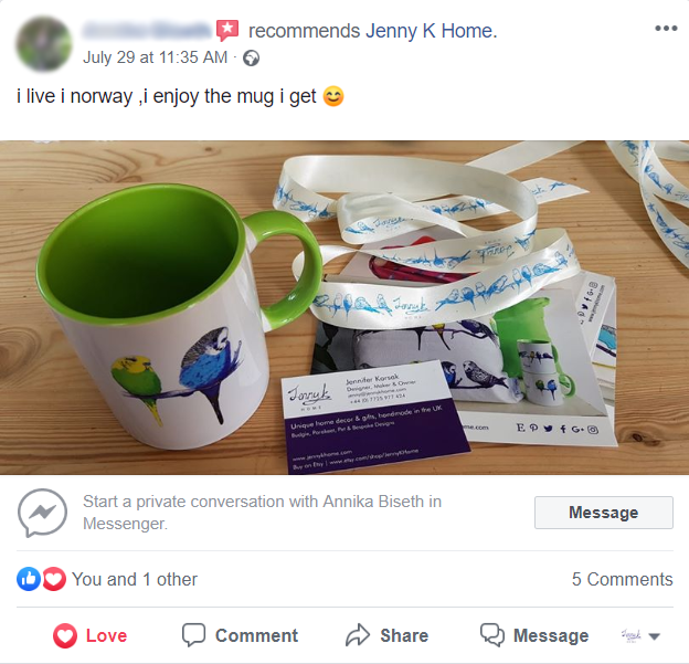 Jenny K Home customer review Norway budgie mug