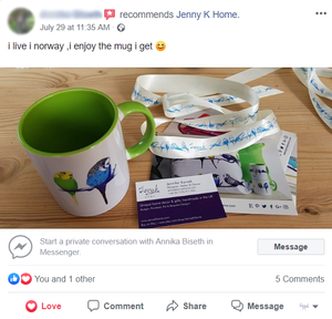 Jenny K Home customer review Norway budgie mug