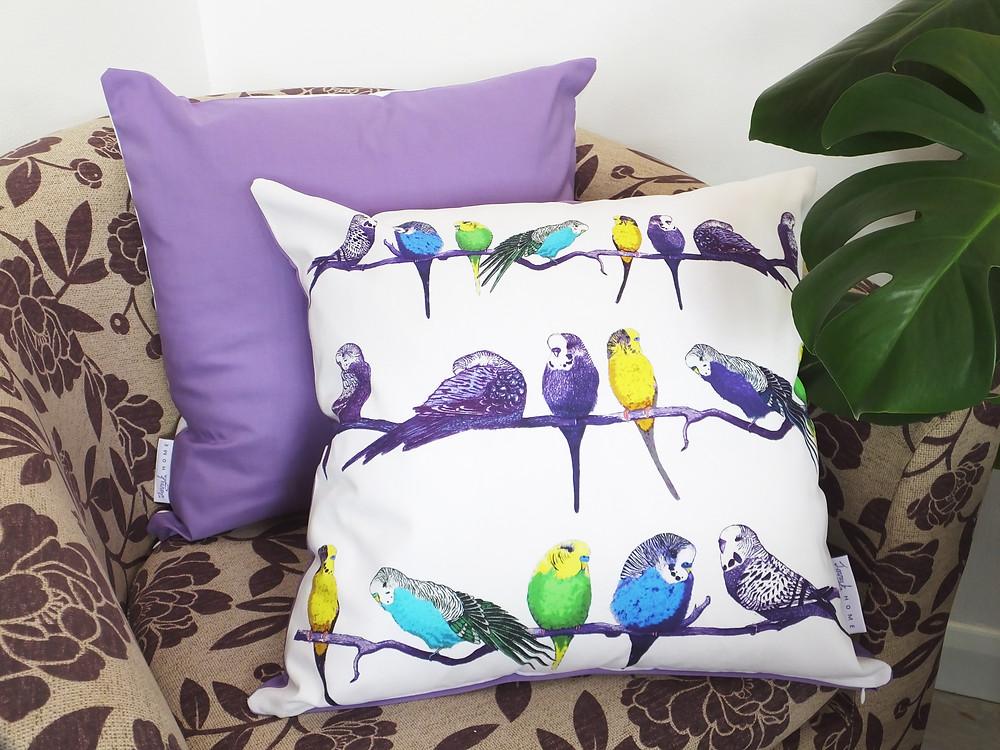 Jenny K Home Violet Backed Budgie Parakeet Cushion