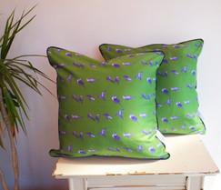 Green Satin Budgie Cushion 50cm