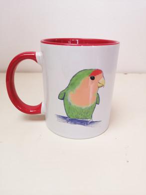 Red Lovebird Mug