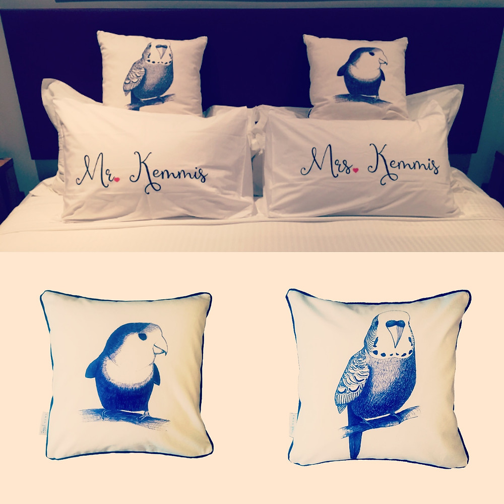 Jenny K Home Lovebird and Budgie Cushion Commissions in Australia