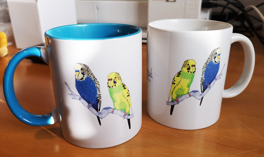 Jenny K Home Bespoke Budgerigar Mugs created as gifts