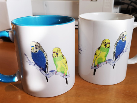 Custom Budgerigar Mugs Created as Unique Gifts by Jenny for UK Customer