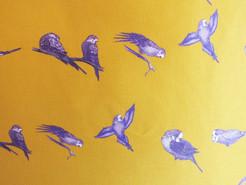 Blue Parakeets on Mustard Budgie Cushion