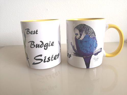 'World's Best Budgie Sister' mug Gift
