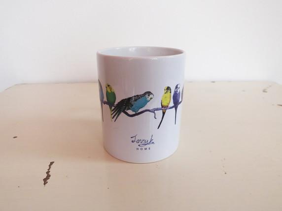 White Colourful Budgie Mug