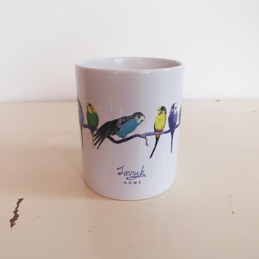 Jenny K Home White Colourful Budgie Mug