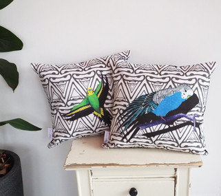 Colourful Geometric Budgie Cushions
