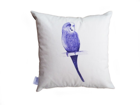 What the flock? Another cute budgie cushion - £9.99 on eBay
