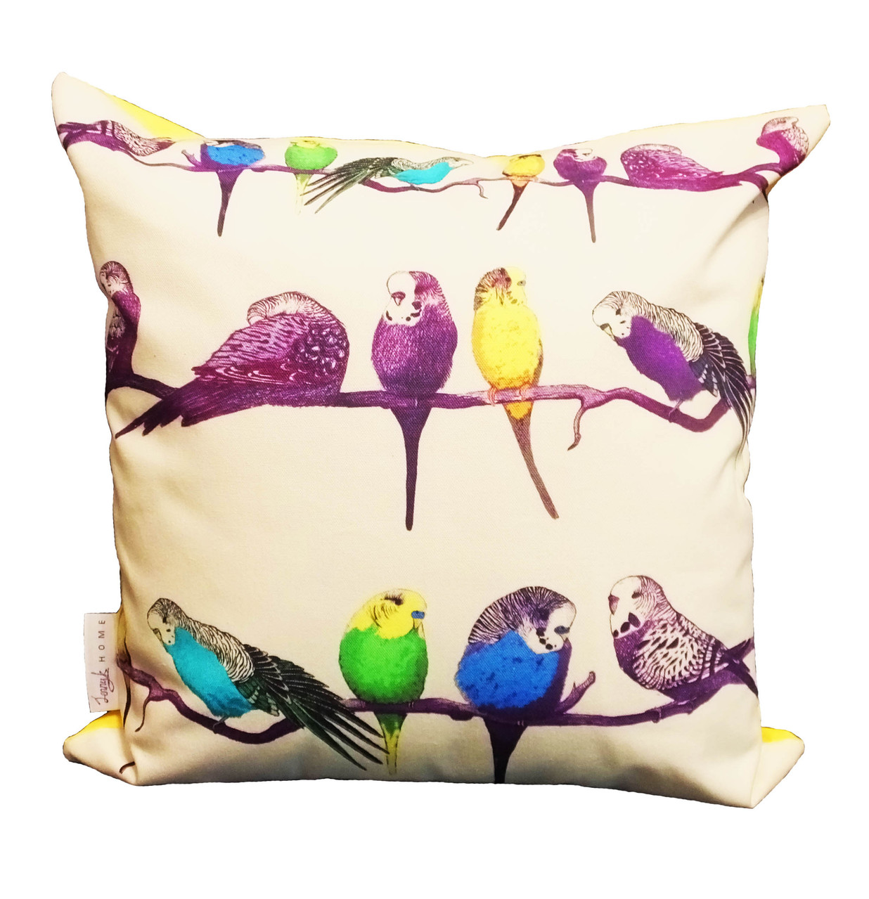 Happy Budgie Yellow Cushion Throw Pillow - Detail 1 square (1 of 1)