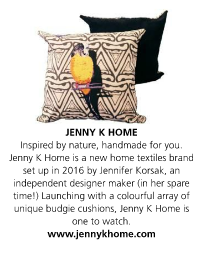 Jenny K Home colour pop monochrome patterned yellow budgie cushion featured in House Beautiful Magazine May 2017 issue