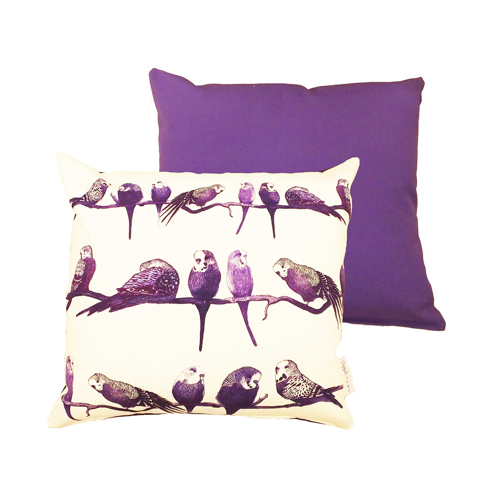 Jenny K Home Aviary Budgie Bird Cushion Pillow Cover Purple and White Cotton Cover 50cm