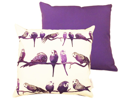 Purple and Cute: The Aviary Budgie Cushion Pillow Cover