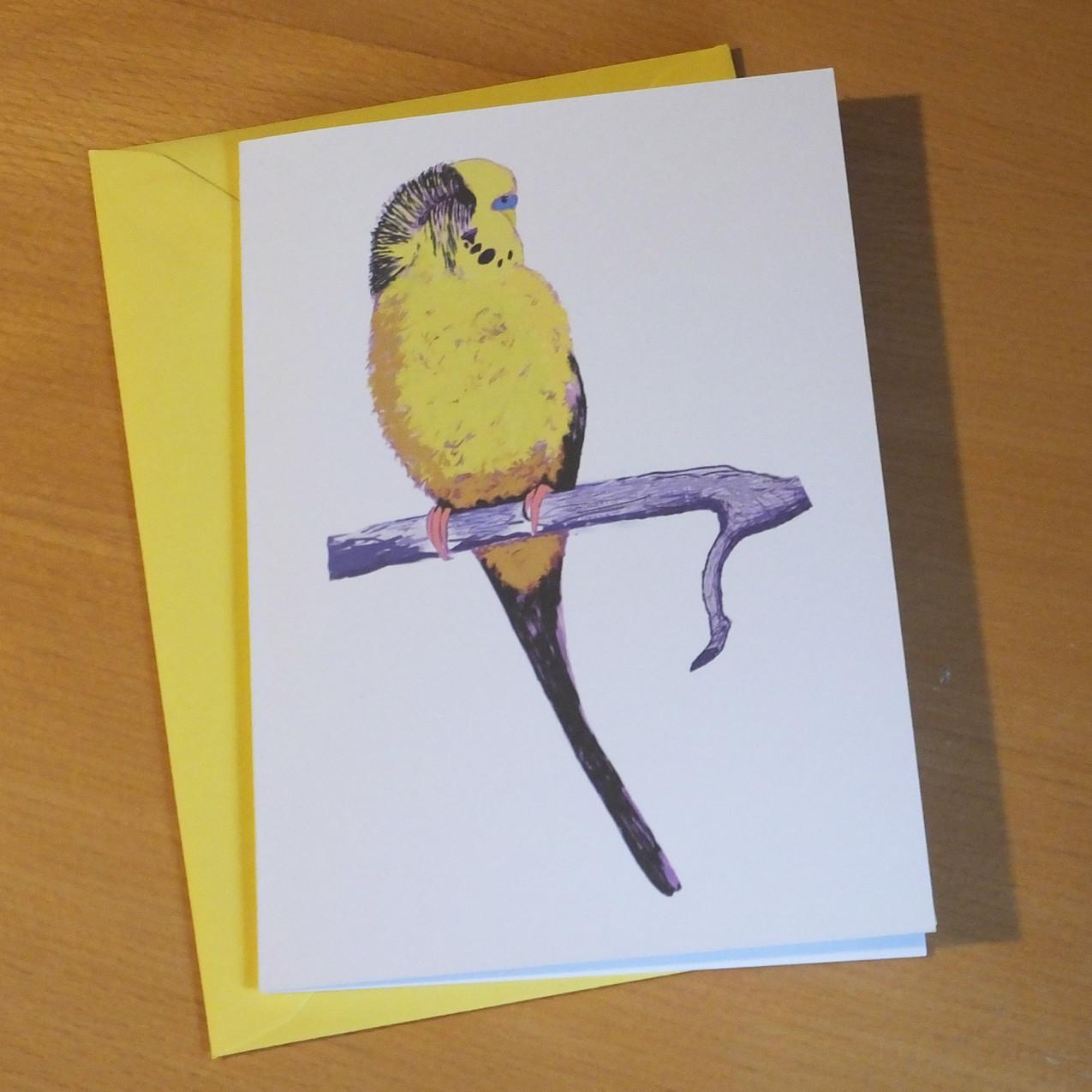 Jenny K Home Budgie Card Happy Yellow 3.