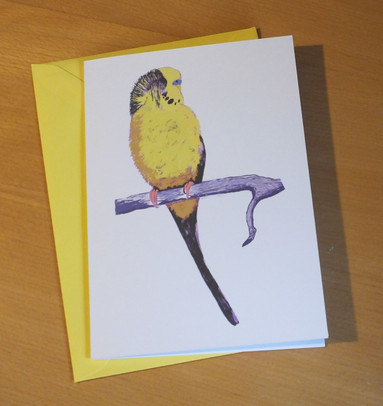'Happy Bird Day' Yellow Budgie Card