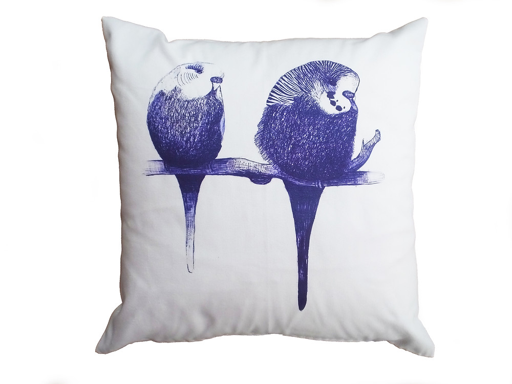 Blue and white budgie bird cushion cover #MondayBlues