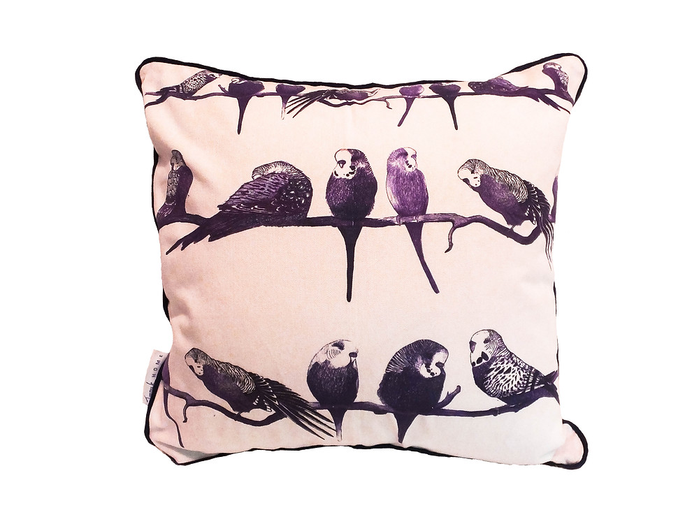 Jenny K Home - Aviary budgie cushion cover throw pillow purple velvet 100% cotton artistic natural