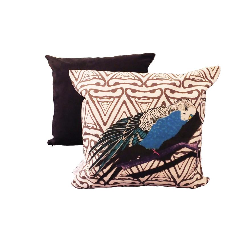 Jenny K Home colour pop budgie cushion blue black abstract background-min