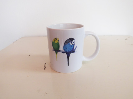 White Budgies Mug