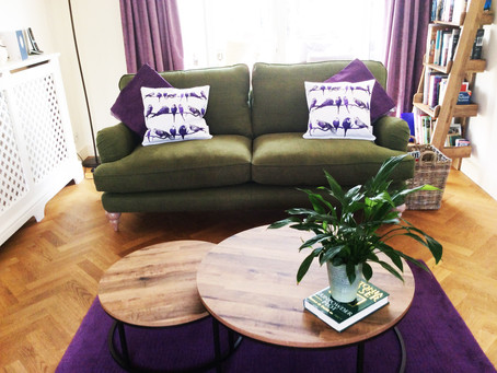 Delighted Customer Photographs Purple Printed Jenny K Home Budgie Cushions