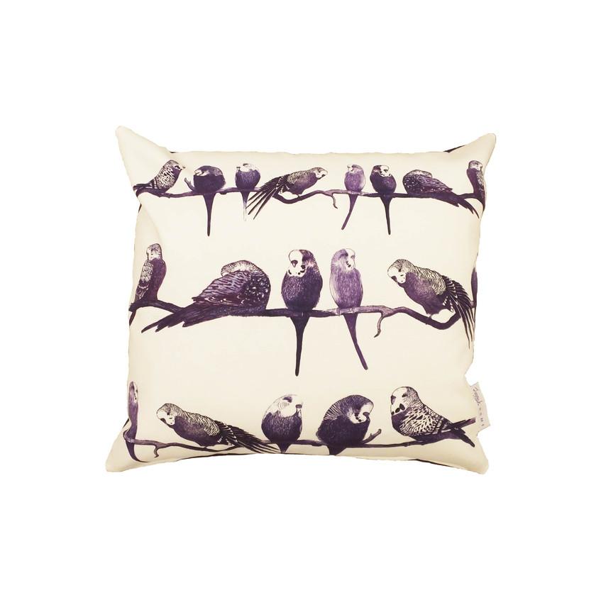 Jenny K Home budgie cushion cover handmade UK perch group aviary pretty gift purple cotton 3-min