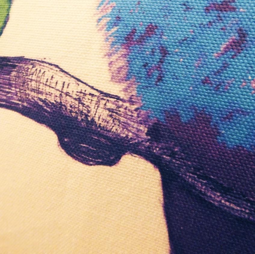 Jenny K Home Budgie Bird Cushion Pillow Aviary Colourful Handmade UK - Blue back close up