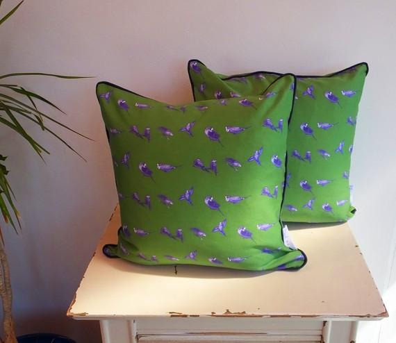 Handmade Green Satin Budgie Cushion 45cm
