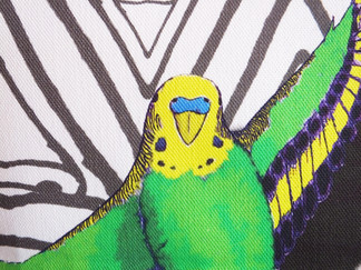 Green and Yellow Budgie in Flight Cushion