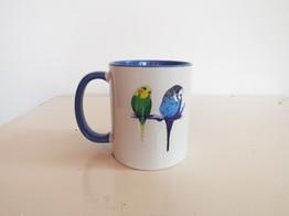 Blue parakeet budgie mug