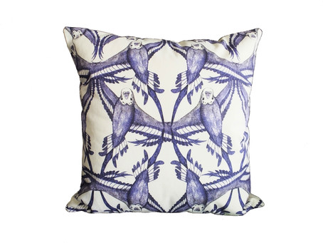Latest Design: Symmetry pattern budgie bird cushion - Ideal rustic or cottage chic style
