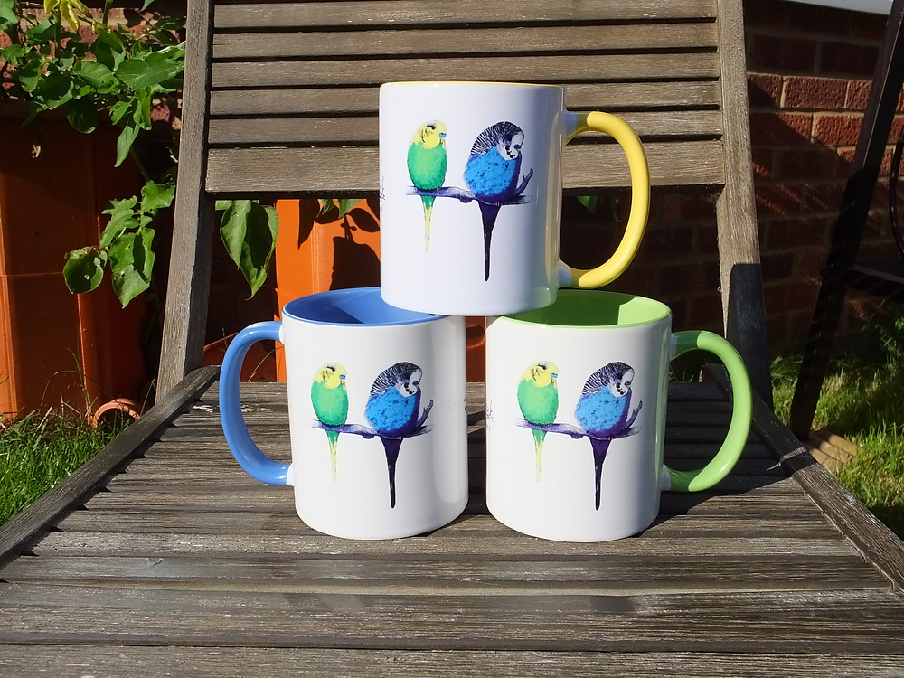 Jenny K Home colourful budgie mugs blue yellow green