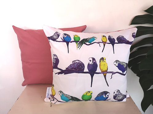 Budgies on a Perch Cushion Cover (Pink/Grey/Blue)