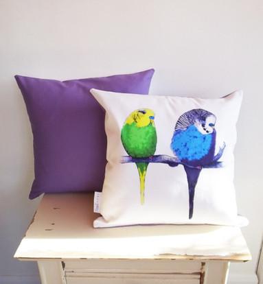 Violet budgie cushion pillow