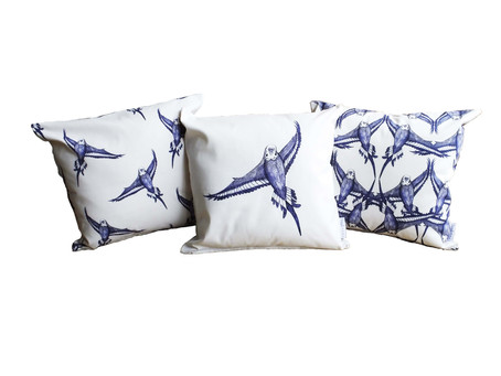 Country Blues . . . Enjoy these serene blue and white budgie cushions
