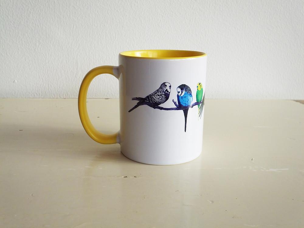 Yellow Parakeet Budgie Mug Jenny K Home