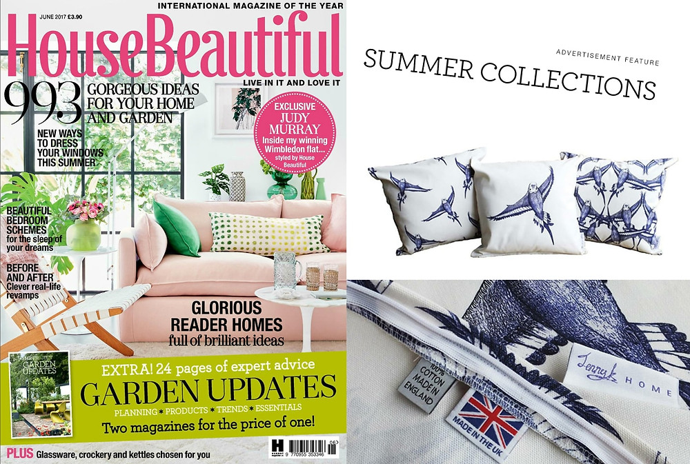 Jenny K Home budgie cushions feature in House Beautiful magazine summer collections