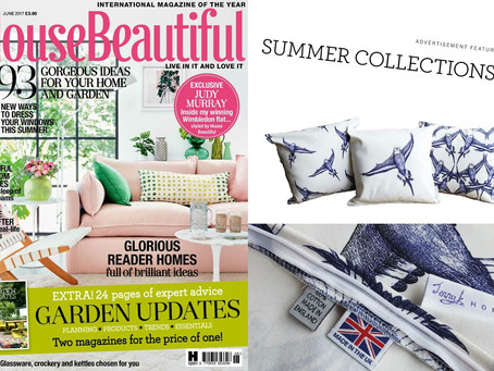 Jenny K Home Vintage Style Budgie Cushions Feature in House Beautiful June Issue