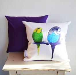 Deep Purple Budgie Cushion