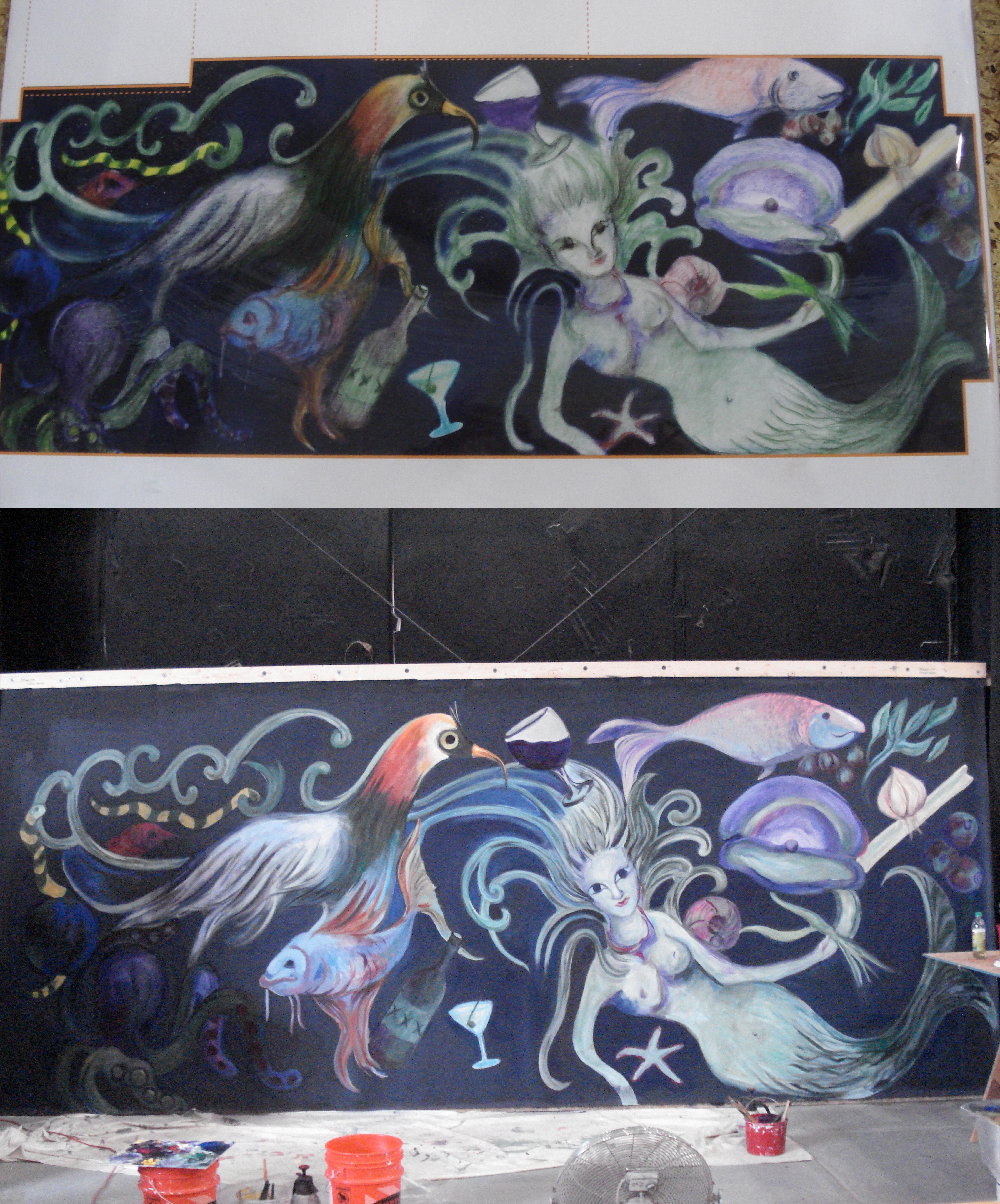 Kitchen floor mural